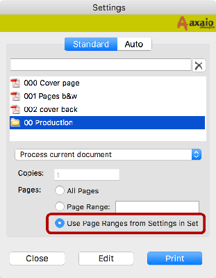 axaio software MadeToPrint - Settings - Use Page Ranges - Picture