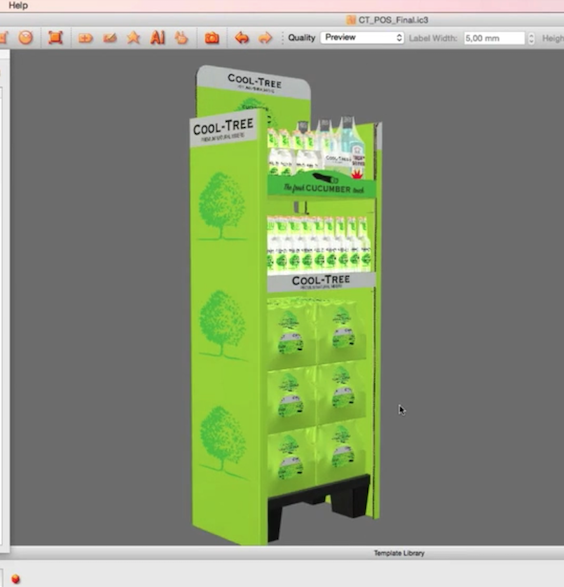iC3D Opsis Model - Cool Tree Cucumber Tonic Water - Standalone POS with 4Packs - Bild
