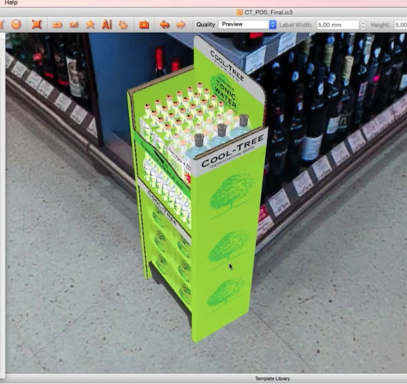 iC3D Opsis Model - Cool Tree Cucumber Tonic Water - POS with 4Packs - in Opsis Environment - Bild