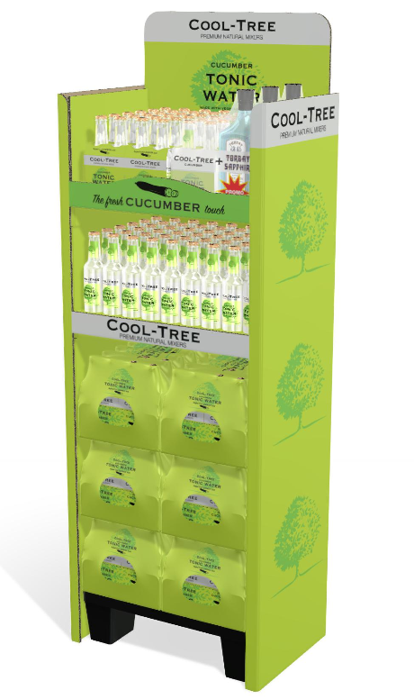 iC3D Opsis Model - Livsmedel - Cool Tree Cucumber Tonic Water - POS med 4-packs - Bild