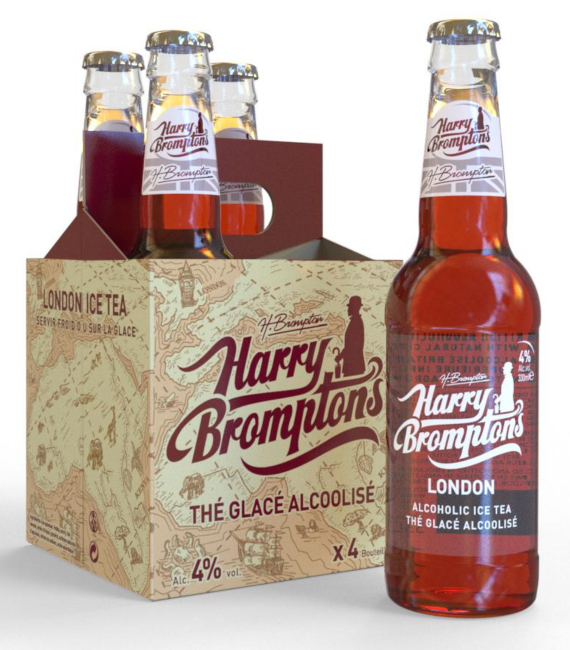 iC3D Opsis Model - Harry Brompton Ice Tea - 4-Pack - Animation: Bottles move into carton box