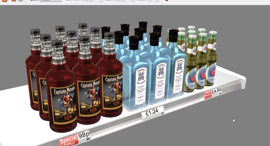 iC3D Stacked Shelving Display Bottles - Picture