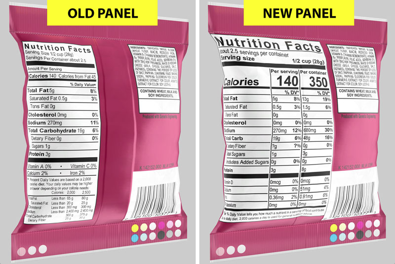 iC3D Suite - US FDA Compliance Demands Changes to Food Nutrition Facts Panels - Bags - Picture
