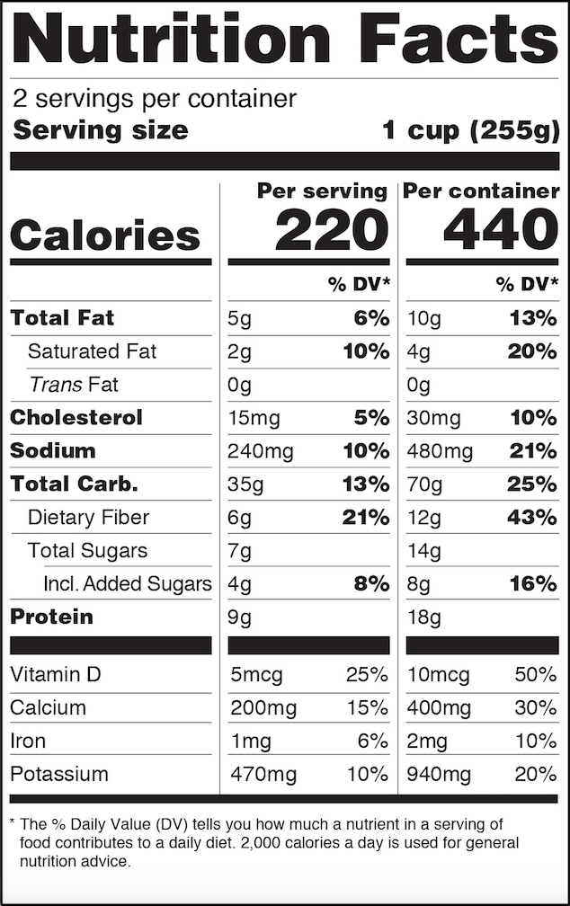 iC3D Suite - US FDA Compliance - New Food Nutrition Facts Panels - Dual Columns Format - Picture